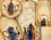 Midnight Blue Rustic Clip Art PNG Files Digital Coffee Pot Hang Tags Afternoon Tea Bakery Digital Collage Sheet Printable Commercial Use
