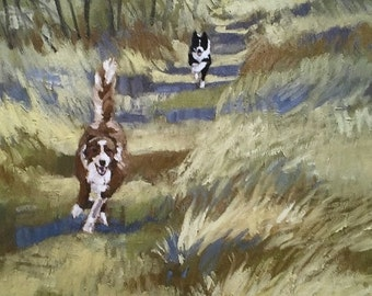 Meadow Romping - reproduction of original oil by Nicole Strasburg
