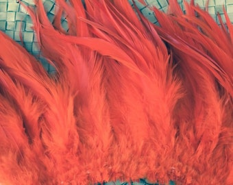 Very Long saddle feathers- Bright orange- 6-7 inches in length- rooster feathers, Tahitian costume,