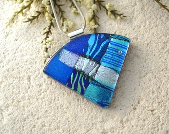 Blue Black Green Aqua Necklace, Dichroic  Necklace, Fused Glass Jewelry, Dichroic Glass Jewelry, Wedge Statement Necklace 072415p104