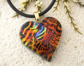 Rainbow Black Heart Necklace, Dichroic Jewelry, Fused Glass Pendant, Necklace, Fused Glasss Jewelry, Glass Jewelry, Gold Necklace 080115p109