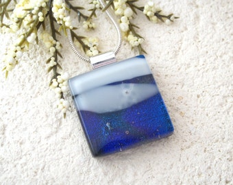 Purple Blue White Necklace, Dichroic Jewelry, Glass Jewelry, Fused Glass Jewelry, Fused Glass Pendant, Dichroic Necklace 080415p100
