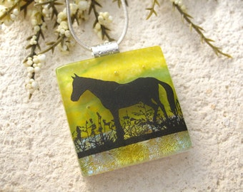 Horse Necklace, Fused Glass Jewelry, Dichroic Pendant, Dichroic Jewelry, Equestrian Necklace,Blue Green Horse Necklace, 082315P120