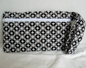 Quilted Wristlet - Black and White Modern Print - Wrist Style Purse - Wallet with Strap - Cellphone Purse