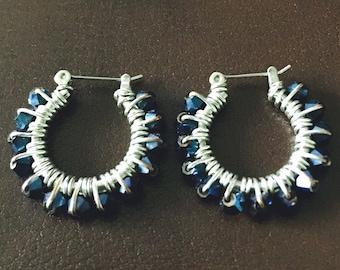 Midnight metallic blue wire wrapped hoop earrings