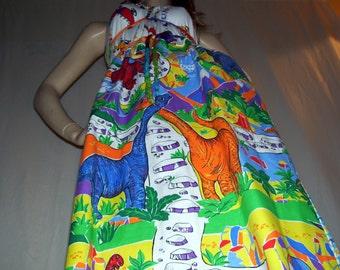 Dinosaur Dress OAK Upcycled Adult Geek T Rex Dino Patchwork Sundress Mom Party Dress Adult S M L XL Plus Size