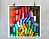 Bright colourful chalk pastels vibrant abstract multi-coloured jumble rainbow 7x7 12x12 15x15 18x18 22x22  big print poster wall home decor