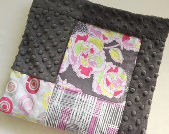 Grey Floral Baby Blanket - Girl