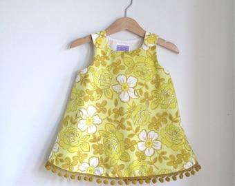 Mustard Floral Girls Dress -  Toddler Dress Size 12 - 18 Months - Yellow Floral Vintage Print & Gold Fringe Trim - Boho Dress Mini Fashion