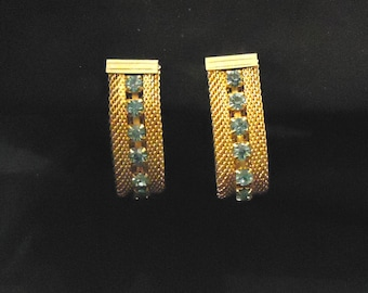 Earrings Clip On Sarah Coventry Gold Mesh Light Blue Pastel Crystals Rhinestones Dangle Style 1970's Costume Jewelry Accessories