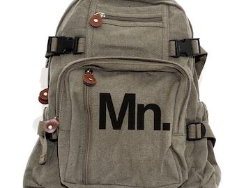 Minnesota MN Backpack, State Monogram Backpack, Canvas Backpack, University of Minnesota, Laptop Bag, Rucksack, Travel, Women & Men Backpack
