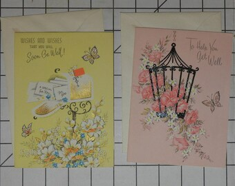 2 Unused Vintage Antique Greeting Cards to Say Get Well Soon with Envelopes 1940's 1950's Beautiful