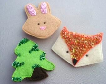 Felt Woodland Brooch - Woodland Pin - Fox Brooch - Tree Brooch - Bunny Brooch