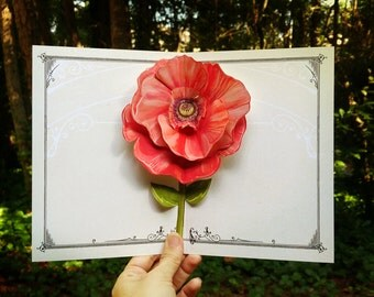 Poppy Flower Pop Up Card - floral and fancy for any birthday, congratulations, anniversary or wedding shower. Includes stand for decoration.