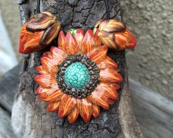 Orange polymer clay daisy