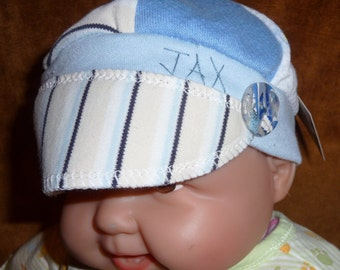 Infant Jax Hat in blues with striped fabric for infant 0-6 months