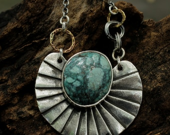 Turquoise pendant with sterling silver shell backing and oxidized silver chain