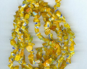 Yellow with Blue Millefiori Flower Chip Glass Beads - 32in Strand 701