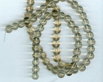 6mm Smokey Brown Transparent Glass Round Beads