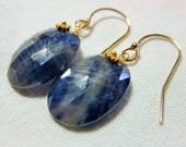 LAST DAY 20% OFF (Code:SALE20) Natural rose cut blue oval Sapphire gemstone, and 14K Solid Yellow Gold Earwires