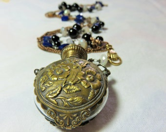 Huge victorian antique flower carved Brass,Glass Forest Prefume Bottle,Connector,Stainless Steel Necklace