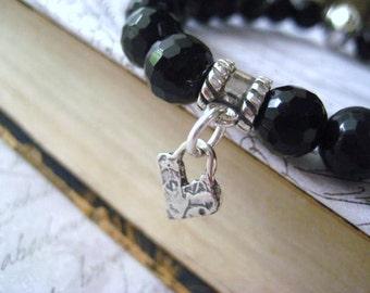 Black Onyx Bracelet, Semi Precious, Bali Bead, Sterling Silver, Artisan Heart, Black Onyx Stones, Heart Charm, Boho Bracelet, candies64