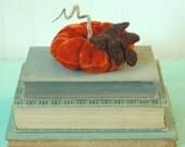Vintage Velvet Pumpkin, Fall Decor, Autumn, Dark Rust Orange, Recycled Wool, Adjustable Wire Stem, Lana Manis / Honeysuckle Lane