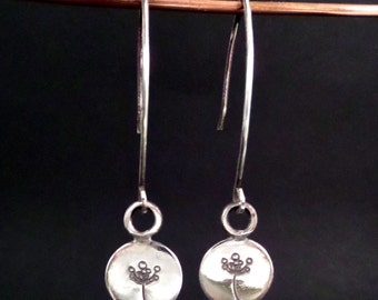 Sterling Silver Earrings with Flower Stamped Charms