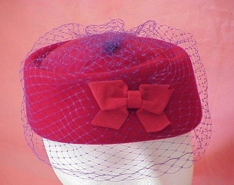 Vintage Red Felt Pill Box Hat with Net Veil by Scala