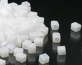 Miyuki 4mm cube glass translucent opal white-20 gm- Seed bead (550) 2678 small translucent opal white glass bead cube bead