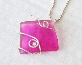 Magenta Seaglass Pendant, Recycled Jewelry, Wire Wrapped Necklace, Swarovski Crystal