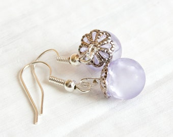 Lavender Marble Earrings,  Crackle Glass, Bridesmaid Jewelry