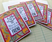 Fabulous Friend Mini Note Card Set Handmade Owl stamped Greeting Cards