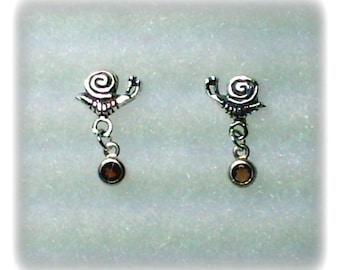 925 Sterling Silver Snail Stud Earrings with 3mm Garnet Gemstone Dangles