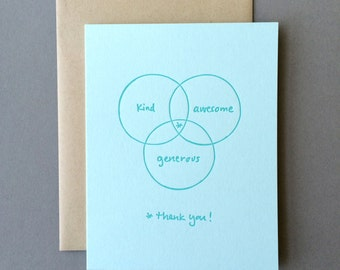 Venn Diagram: Thank You, single letterpress card
