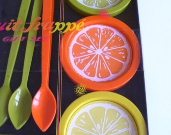 Vintage Fruite Frappe Gift Set Bright Coasters and Stirres Retro Mod Homegoods