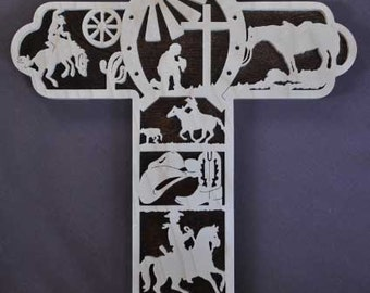Cowboy Cowgirl Western Horse Scrolled Wooden Cross Wall Hanging Biblical Wall Art