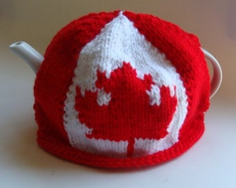 Canadian Flag Maple Leaf  Knitted Teapot Cozy
