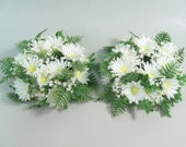 Vintage 1960s plastic flowers, candle ring, flower candle ring, white daisies, green fern, wedding decor