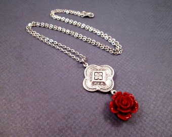 Flower Necklace, Blood Red Rose, Silver Pendant Necklace, FREE Shipping U.S.