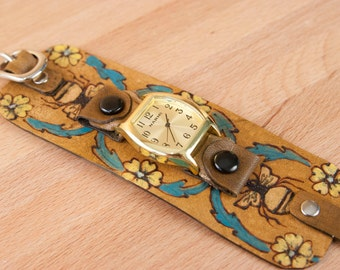Cuff Watch - Leather Cuff Watch - Wide - Bees and flowers - Cuff - Melissa pattern in gold, yellow, turquoise and antique brown - Handmade