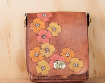 Purse - Handbag - Leather - Mahogany Leather - Handmade Leather Purse in the Poppy Garden Pattern with flowers - Pink orange and yellow