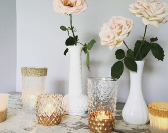 75 gold dipped vases, Gold wedding decor, gold vases and candle holders, sparkle themed wedding, rose gold table decorations