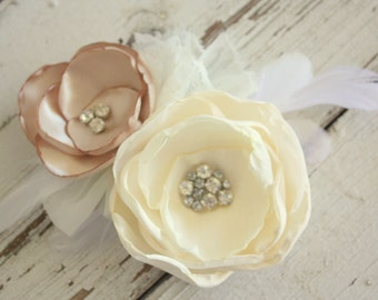 Bridal fascinator, brides hair clip, ivory and champagne fabric flower and feather hair accessory, wedding hair clip