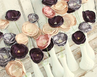 Fabric Flower stems for wedding decorations, 24 bulk fabric flowers for wedding bouquet or decoration, custom wedding flowers