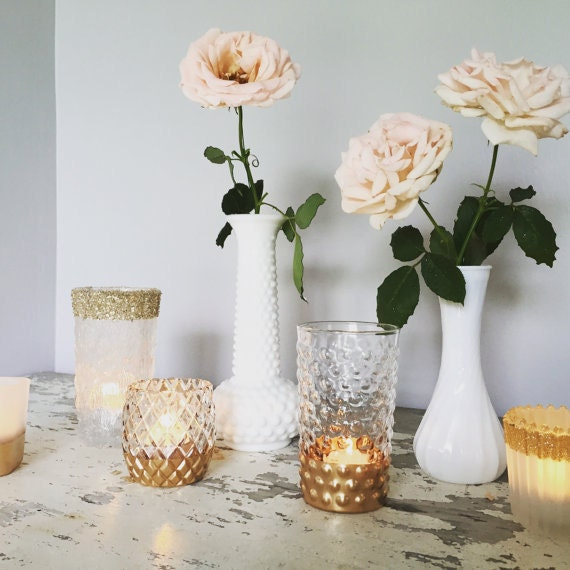 Items similar to gold dipped vases wedding decor