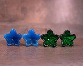 Lampwork Glass Bellflower Headpins Pairs Electric Blue & Emerald Green Divine Spark Designs SRA LeTeam