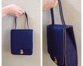 Vintage 50s blue silk box purse / retro / rockabilly / blue and gold / mini handbag / pin up