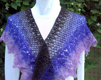 Shawlette or scarf, Midnight is 100% handspun washable wool in limited edition colors