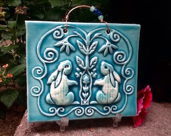Baby Bunny Ceramic Tile in Turquoise